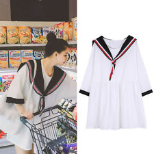 Girl Preppy Style Loose Dress Sailor Collar Women Summer Casual Half Sleeve New
