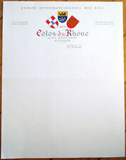Wine/Vins 1950s French Letterhead: Cotes du Rhone - Avignon, France