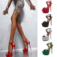 Fashion Women Super High Heels Platform Pumps Ankle Strap Stiletto Sandals Shoes