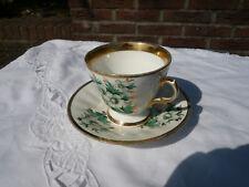 Kaffee Tasse Heferl Untersetzer Goldrandverzierung Blumenmuster Porzellan alt