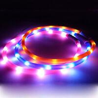 Cy_ USB Rechargeable LED Flashing Light Band Glow Safety Belt Pet Dog Collar Nov