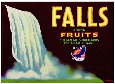 APPLE CRATE LABEL VINTAGE CHELAN FALLS WWII LOGO PEARS ORIGINAL 1940S WASHINGTON