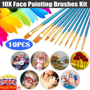 Professional Face Painting Brushes Glitters Round Flat Tip Art Paint Brushes Kit