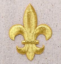 Medium Gold Fleur De Lis/Saints/Religious - Iron on Applique/Embroidered Patch