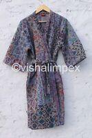 Ajrak Print Kantha Jacket Indian Handmade Cotton Kantha Kimono Women's  Coat