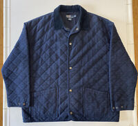 Vintage Polo Ralph Lauren Quilted Coat Work Jacket Size XLT Tall Corduroy Collar