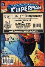 Superman #32 1st printing SIGNED by JOHN ROMITA JR & KLAUS JANSON COA new 52