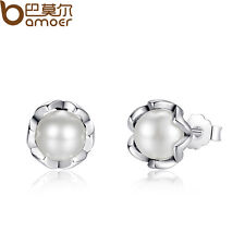 Bamoer Women Authentic S925 Sterling Silver Elegance Stud Earrings, White Pearl