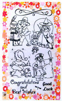 Kids Play Witch and pirate ~ clear stamps set vintage FLONZ 181 rubber acrylic
