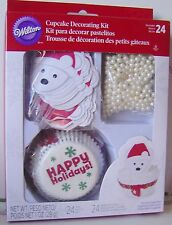 24 Cupcake CHRISTMAS Polar BEAR Decoration KIT Candy Balls Liners BAKE WILTON