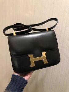 Authentic-HERMES-Constance Shoulder Bag HandBag Black**