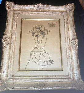 Phillipe Marchand - Original Cubist Abstract PENCIL Drawing Woman With Hat 1950s