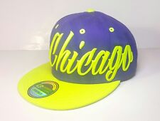 KBETHOS Chicago Snapback Purple And Green Hat Bright Vibrant Colors Script