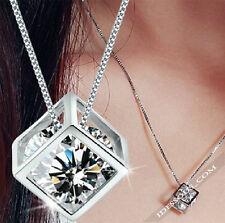 Halskette mit Anhänger Silber Diamant Würfel Damen Kette Mode Geschenk LA FERANI