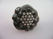 Vintage Ring Flower Beautiful Clear Jewel Center Adjustable Size