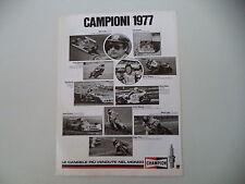 advertising Pubblicità 1978 CHAMPION  NIKI LAUDA/BARRY SHEENE/MIKKOLA/MORBIDELLI