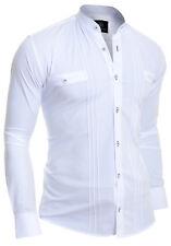 Shirt Ribbed Vertical Stripes Grandad Collar Slim Celebration Party Black White White 4xl
