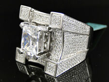 Mens Iced Out 3d XL Solitaire Castle Simulated Lab Diamond Pinky Ring