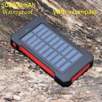 500000mAh Dual USB Portable Solar Battery Charger Solar Power Bank For Phone KR
