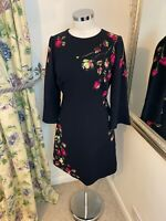 Hobbs Size 10 navy pink floral fluted sleeve wedding party guest fitted dress VG