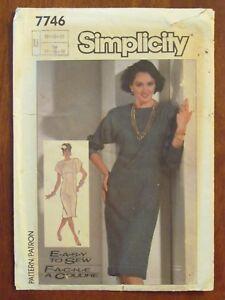 SIMPLICITY PATTERN - 7746 LADIES DRESS SLIM FIT DOLMAN SLEEVES 16-20 PLUS UNCUT