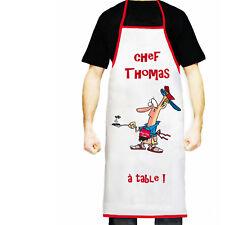 Tablier de cuisine personnalisé prénom cadeau papa fête texte au choix réf 19