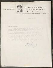 John F. Kennedy - Vintage Typed And Signed 1960 Campaign Letter