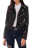 Ladies Womens Black Faux Leather Biker Jacket Zip Studs Belt Buckle PU Coat Punk