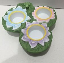 Partylite Pond Lily Pad Frog Lotus Flower 3 Tealight Candles Holder P7150 New