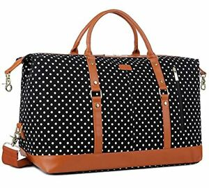 Canvas Travel Tote Duffel Bag Carry on Weekender Overnight Bag - Black dot