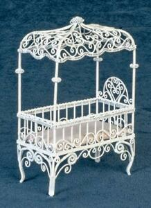 Dolls House White Wire Canopy Cot Crib Miniature 1:12 Nursery Baby Furniture