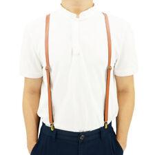 Y Back Stretch Suspenders For Men and Women Adjustable Metal Clip Split Leather