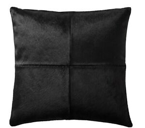 """Williams Sonoma Solid Hair On Hide 20"""" Pillow Cover Black EXCELLENT!"""