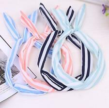 10Pcs Women Lady Girls Bow Rabbit Bunny Ear Ribbon Hair Band Wire Wrap Headband