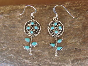 Zuni Indian Jewelry Sterling Silver Turquoise Flower Dangle Earrings by Waylon J