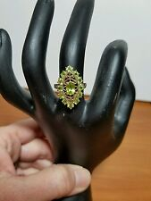 10k Yellow Gold Large Marquis Shape Peridot Ring, Size 8