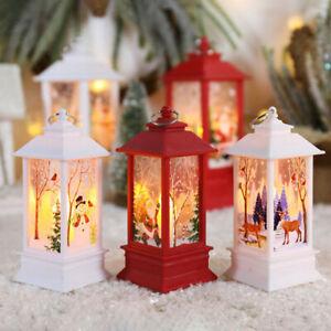 Christmas LED Light Up Lantern Xmas Santa Claus Table Lamp Decoration Ornament