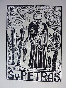 "Original Woodcut Print ""Saint Peter"" by Lithuanian Traditional Artist"
