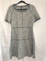 Athleta Women's Heathered Gray Fit & Flare Stretchy Short Sleeve Dress Sz M