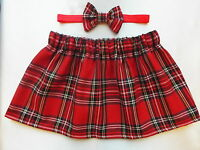RED TARTAN ROYAL STEWART SKIRT & ELASTICATED HEADBAND BOW BABY GIRLS SET NEW
