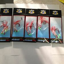 5 Red Fishing Rig 4/0 Hooks Snapper Sabiki Strong Trace Paternoster Flasher Hook