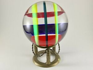 """1989 Vasa Velizar Mihich Signed Colorful Abstract Acrylic Sphere Signed 6"""" Dia"""
