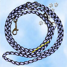 Reflektierende Hundeleine 3-fach, schwarz-silber, 2 Meter/12 mm, Bearded Collie