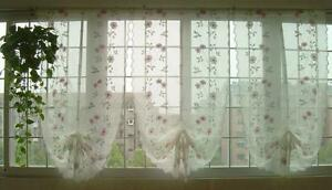 1 PC Pink Rose Embroidered Sheer Voile Cafe Kitchen Curtain Adjustable Ruffle