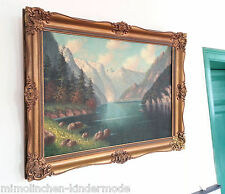 B. SUEHTOW HUGE: Large antique original Oil painting Watzmann Königssee sign TOP