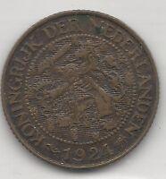NETHERLANDS, 1924, 1 CENT, BRONZE, KEY DATE, KM#152, VERY FINE-EXTRA FINE+