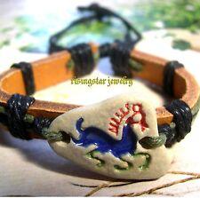 Men Handmade Cool Mustang Horse Fashion Surfer Leather Bracelet Wristband