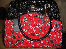 BNWT AMY WINEHOUSE FRED PERRY FIRE RED PAISLEY CROCODILE EFFECT BAG RARE