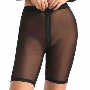 #XL Womens Sheer Mesh High Waisted Front Zipper Pants See Through Leggings Short