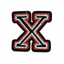 Black and Red Letter X (Iron On) Embroidery Applique Patch Sew Iron Badge